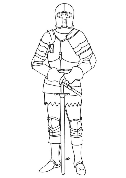 Coloring page knight in armor