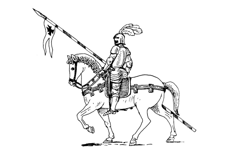 Coloring page knight on his horse