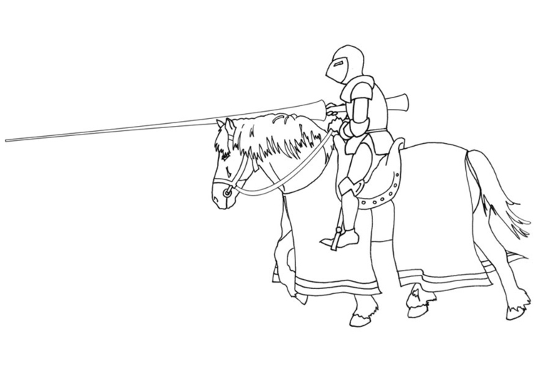 Coloring page knight on horseback