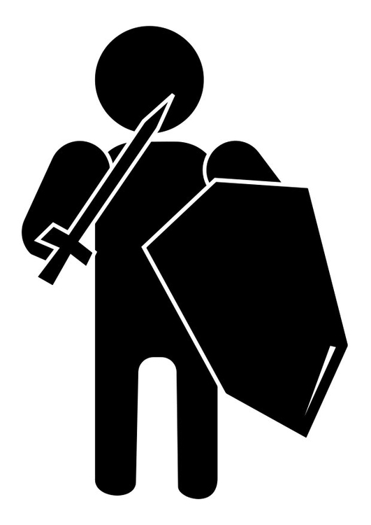 Coloring page knight pictogram