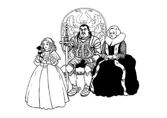 Coloring page knight with family