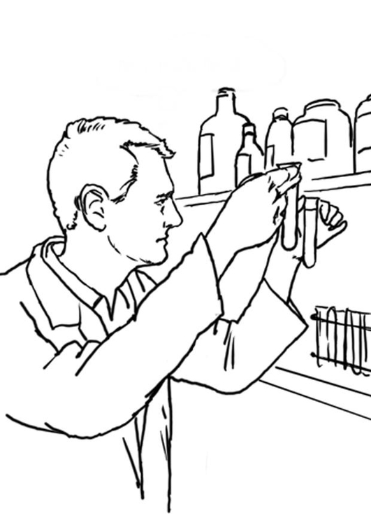 Coloring page laboratory assistant