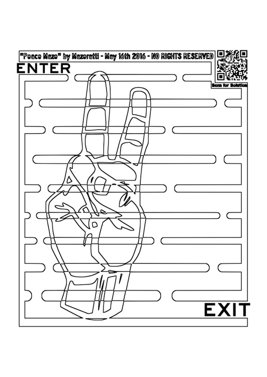 Coloring page labyrinth - peace