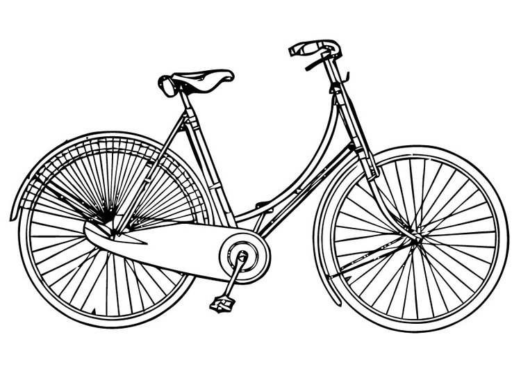 Coloring page Ladies Bicycle
