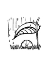 Coloring page lady bug takes shelter from rain