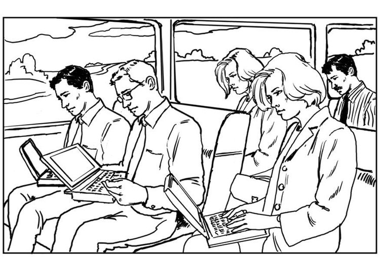 Coloring page laptop on train