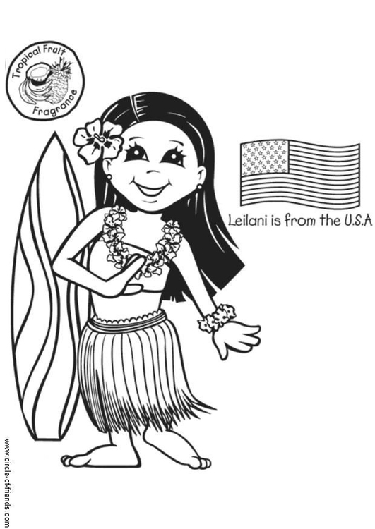 Coloring page Leilani from the USA