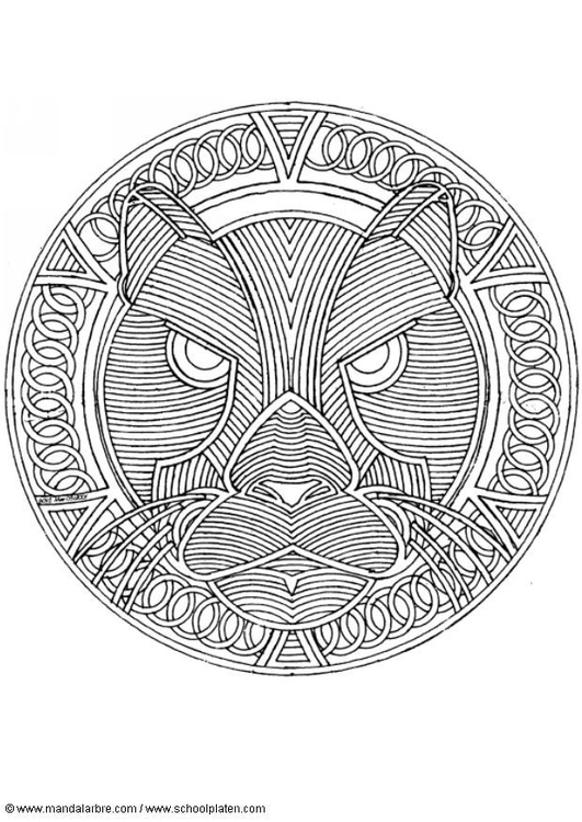 Coloring page leopard mandala