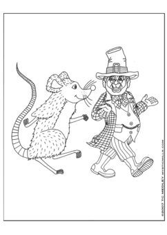 Coloring page Leprechaun with a mouse