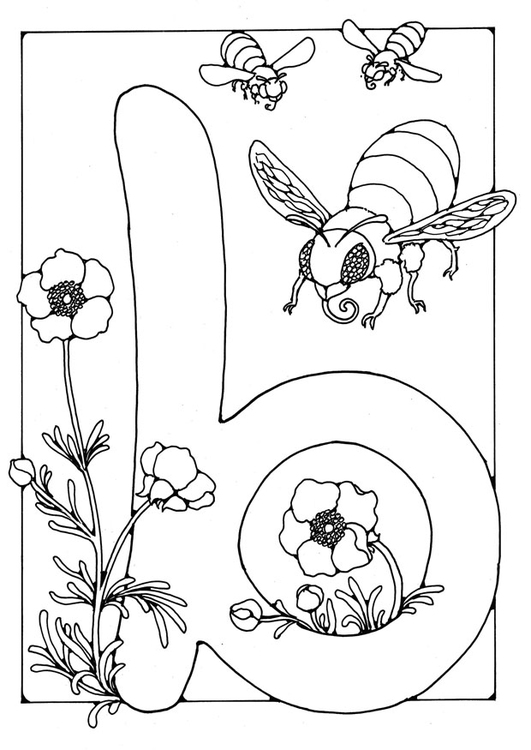 Cijfers 1 T M  Coloring Page Letter B Img 21888