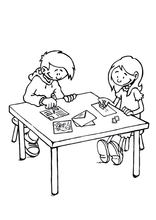 Coloring page letter-delivering process 1