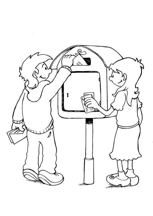Coloring page letter-delivering process 2
