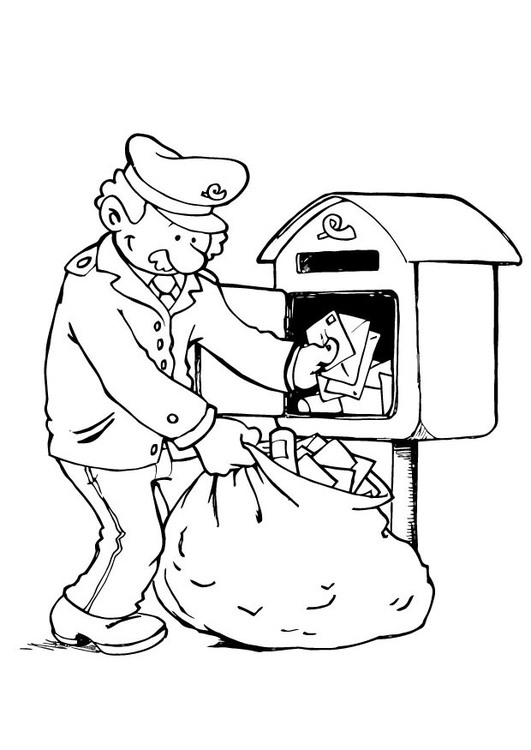 Coloring page letter-delivering process 3
