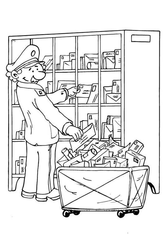 Coloring page letter-delivering process 5
