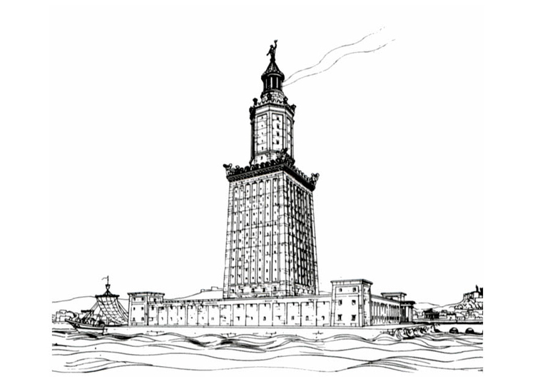Coloring page lighthouse of Alexandria