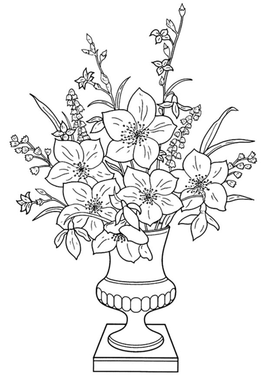 Coloring page lilies in a vase