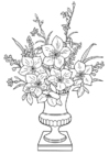 Coloring pages lilies in a vase