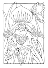 Coloring pages lily with butterflies