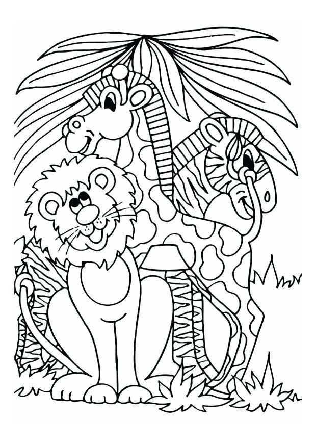 Coloring Page Lion Giraffe And Zebra Img 16608
