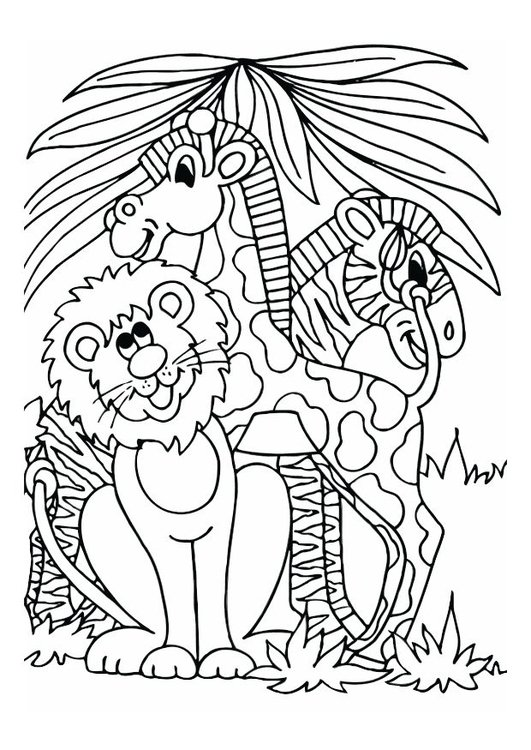 Coloring Page Lion Giraffe And Zebra