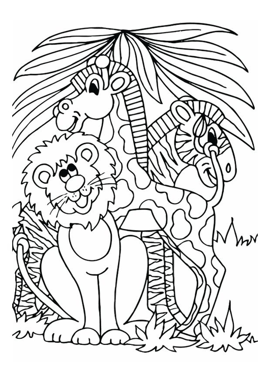 Coloring page lion, giraffe and zebra