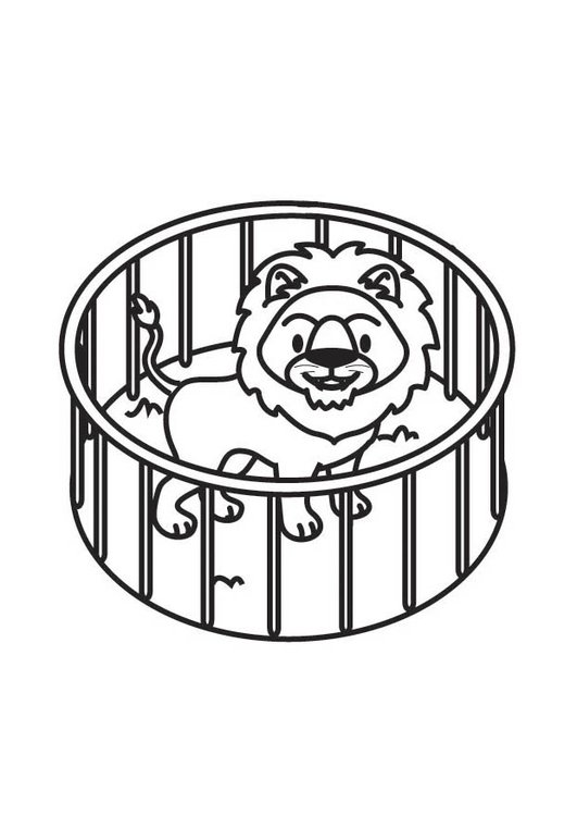 Coloring page Lion in Cage