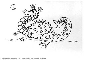 Coloring page little dragon