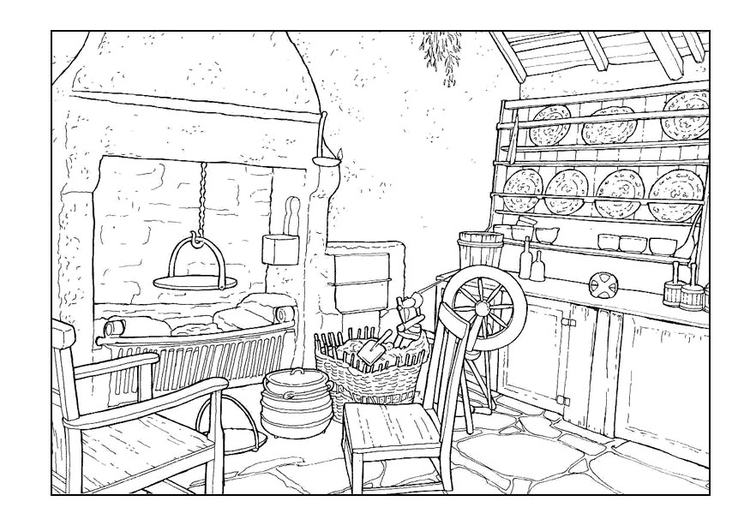 Coloring page living room 18th century
