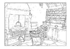 Coloring pages living room 18th century