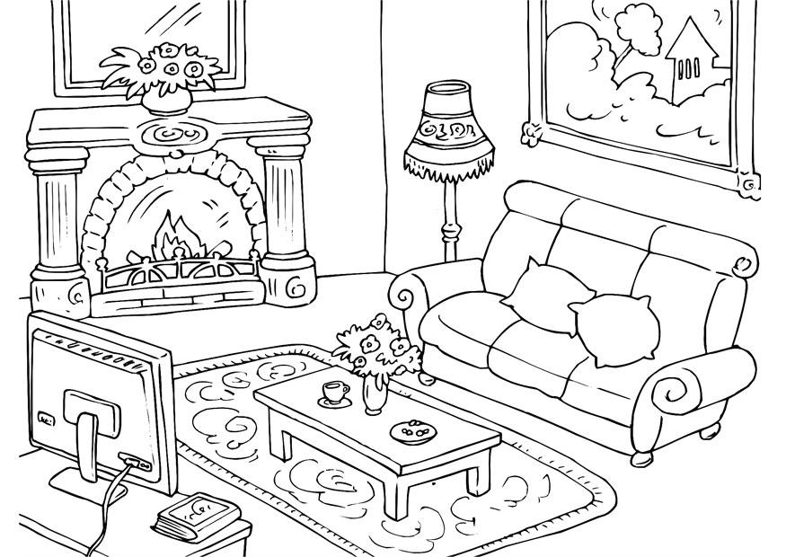 coloring pages simple living room - photo#41