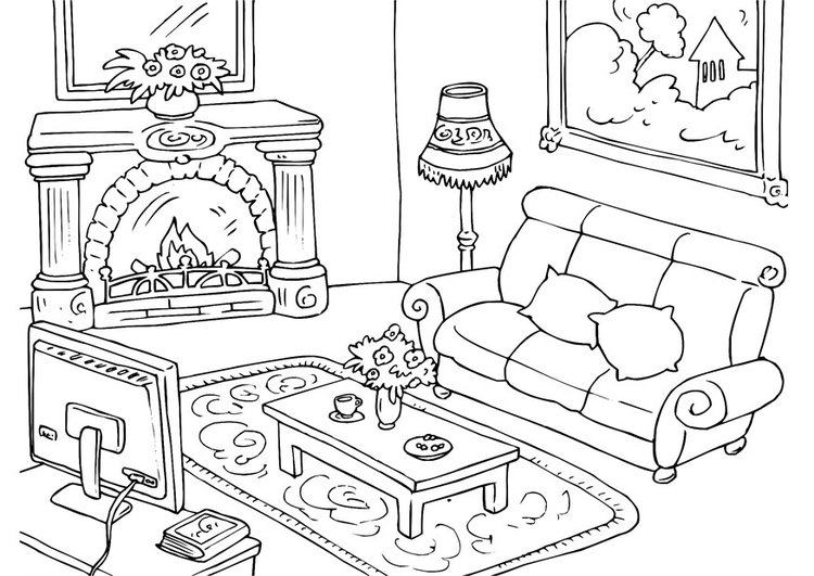 Coloring page living room