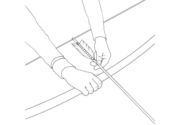 Coloring page loading a bow