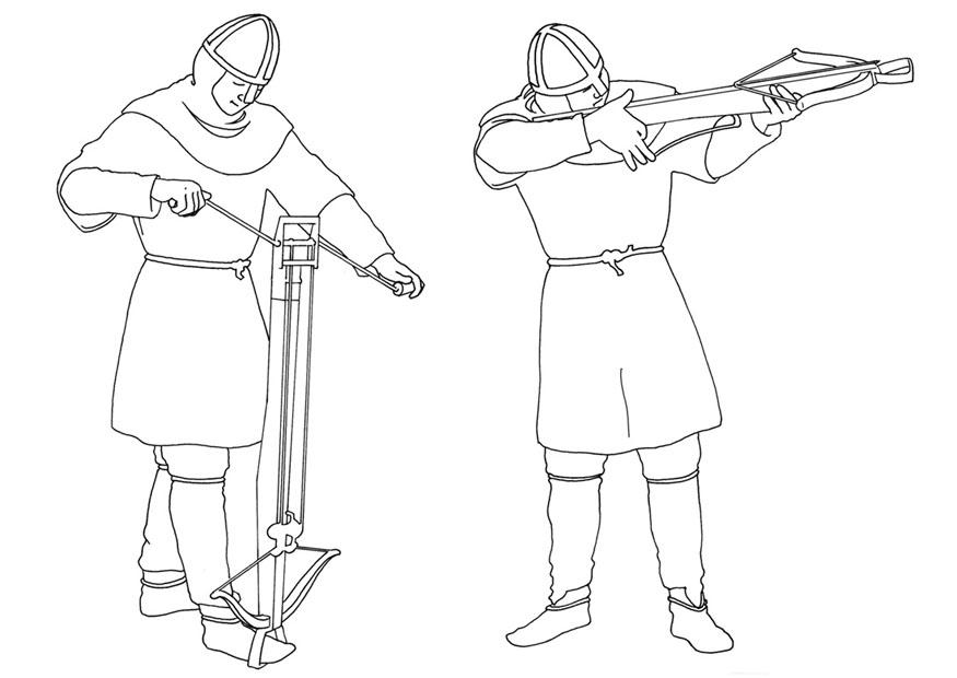 coloring page loading and shooting crossbow  free