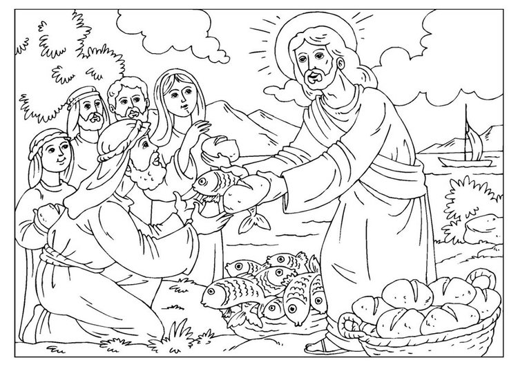 Coloring page loaves and fishes