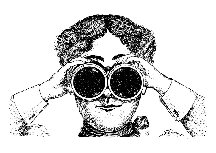 Coloring page looking through binoculars