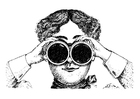 Coloring pages looking through binoculars