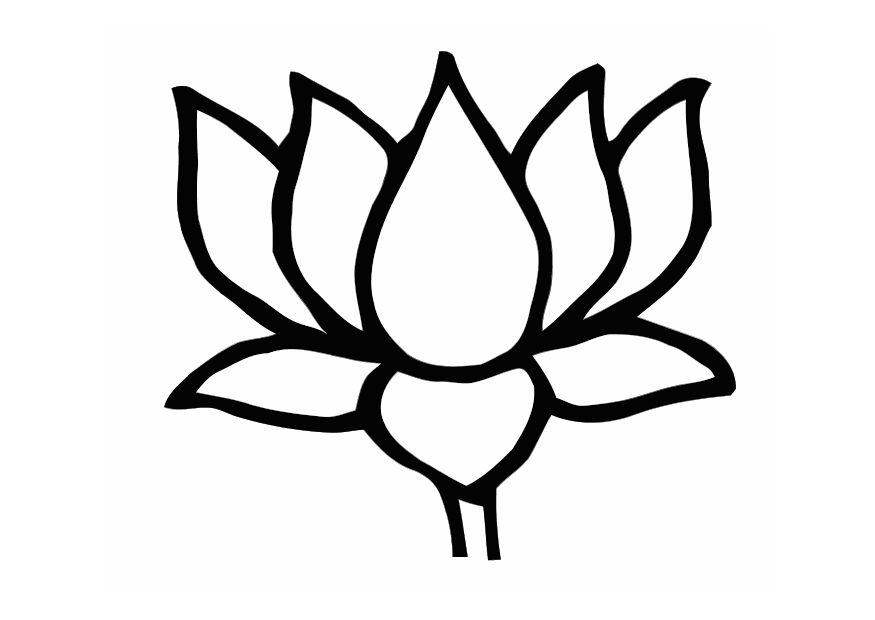 download large image - Lotus Flower Coloring Page