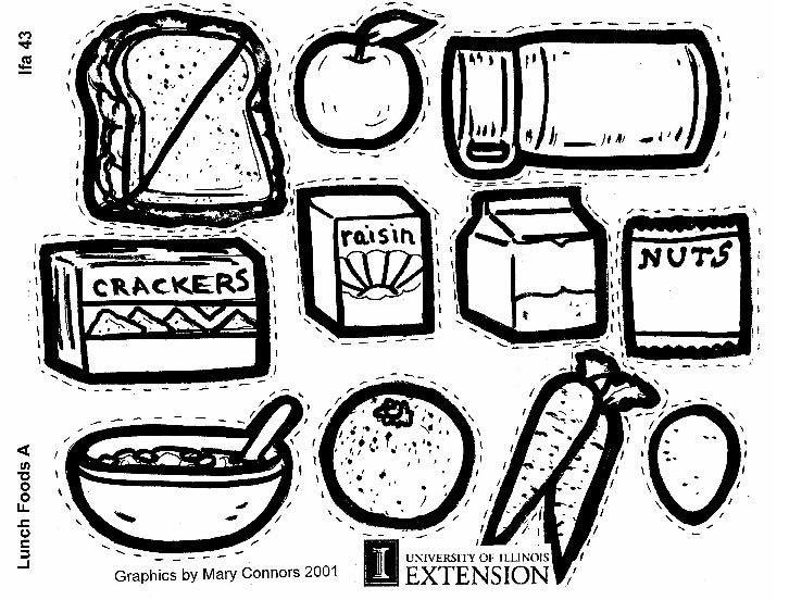 Coloring page Lunch Foods A