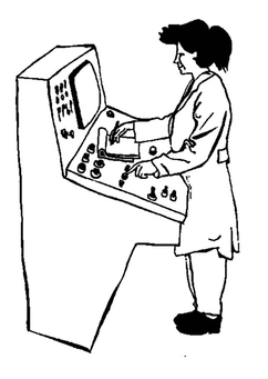 Coloring page machine operator