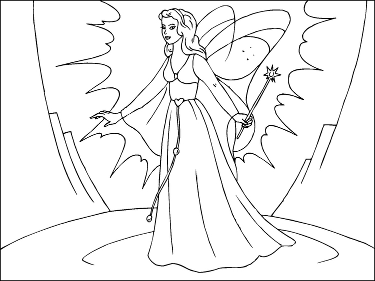 Coloring page magic fairy