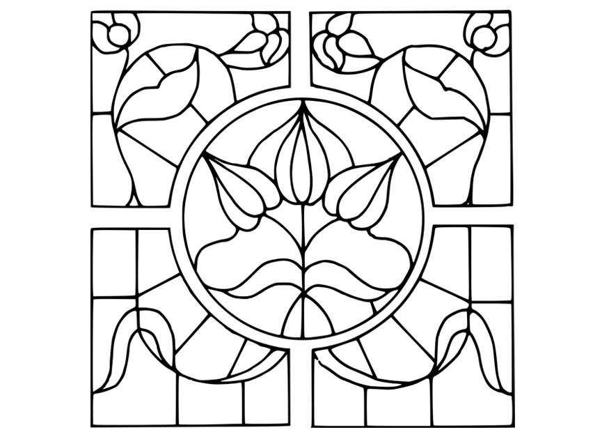 Coloring page Magnifying Glass with flower design - img 18641.