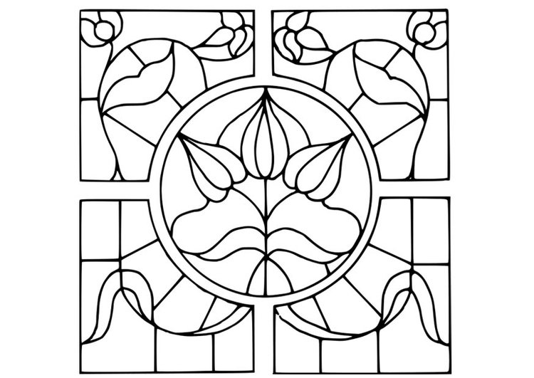 Coloring page Magnifying Glass with flower design