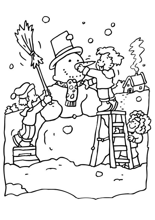 Coloring page making a snow man
