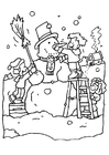 Coloring pages making a snow man