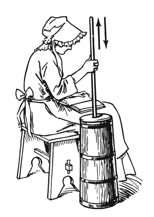 Coloring page Making butter with a butter churn
