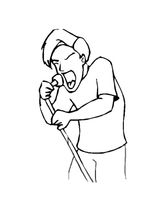 Coloring page male singer
