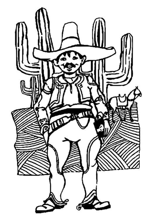 Coloring page man from Mexico