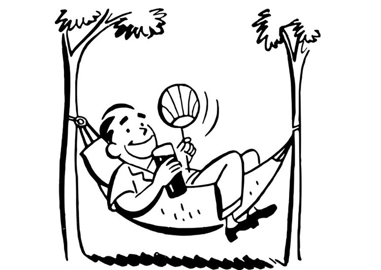 Coloring page man in hammock