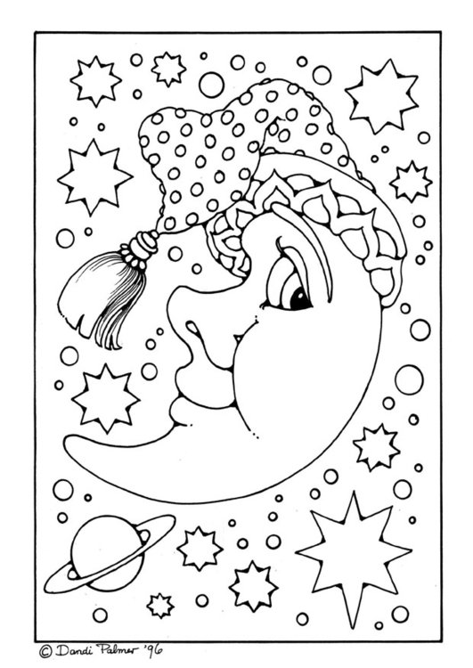 Coloring page man in the moon