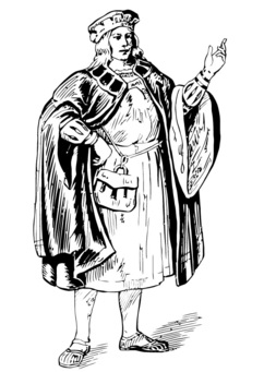Coloring page man with cloak